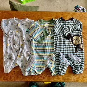 Bundle of 3 Carters Footy Sleepers Zipper Pajamas